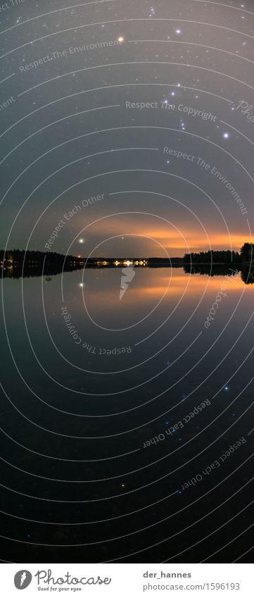 orion.117 Himmel Natur außergewöhnlich See Horizont leuchten Stern Urelemente Hoffnung Seeufer Glaube Wolkenloser Himmel Flussufer Nachthimmel Fjord nur Himmel