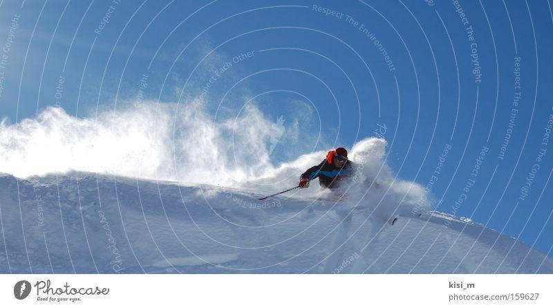 Cutback Schnee Skifahren Sport Tiefschnee Pulverschnee springen Berge u. Gebirge Skier Bundesland Tirol Österreich Skistöcke Berg Arlberg Free-Ski Spielen