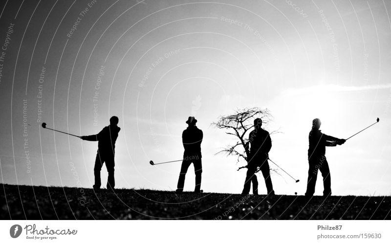 swinging friends Mensch Freundschaft Freiheit Freude Außenaufnahme Momentaufnahme Silhouette Mann Schatten Licht Sonne Gegenlicht Landschaft Freizeit & Hobby