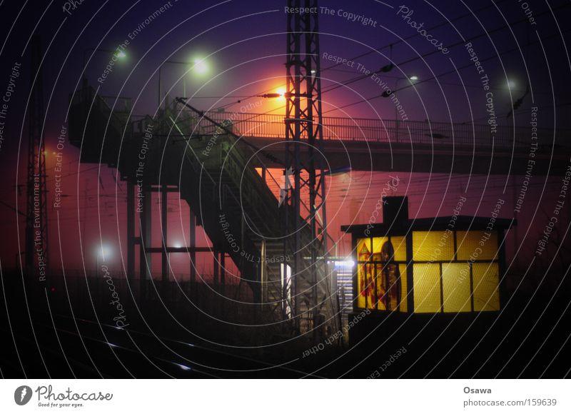 Rummelsburg Nacht Licht Treppe Industriefotografie Laterne Nebel Dunst Fenster Flutlicht Architektur Stahl Brücke Bahnübergang Straßenübergang aufgehen