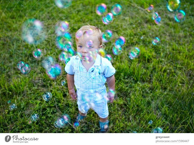 Ein kleiner 16 Monate alter Junge schaut sich Seifenblasen an. Träume des Babys. Lifestyle Freude Glück schön Gesicht Freizeit & Hobby Spielen Sommer Garten