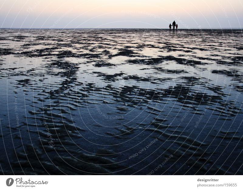 Horizonterweiterung Meer Winter Ferne Sand Eis wandern Horizont Unendlichkeit Nordsee Wattenmeer Ebbe Schlick Wattwandern