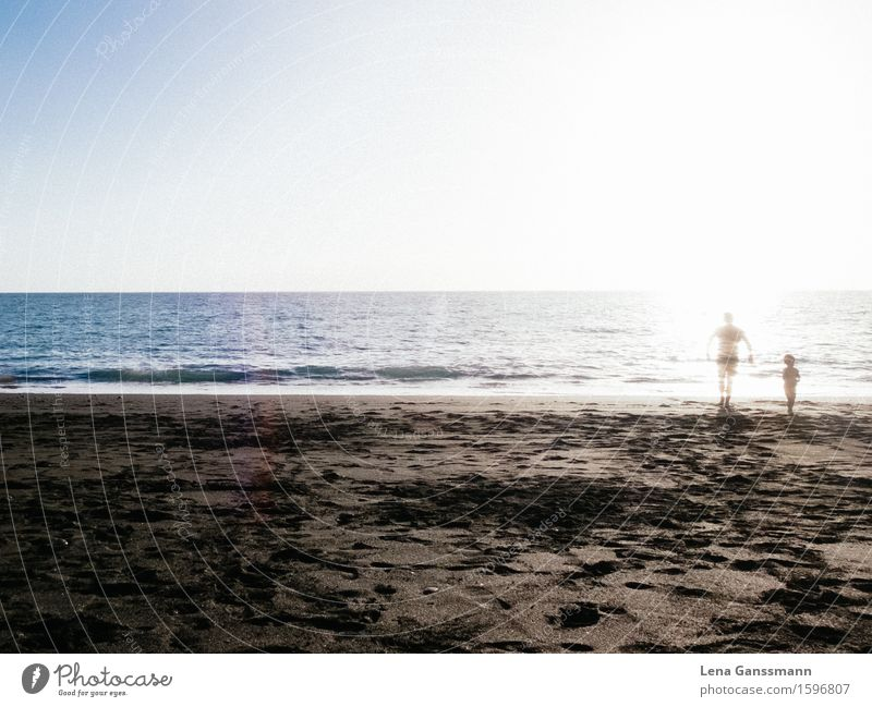 Vater verschwindet am Starnd Mensch Himmel Ferien & Urlaub & Reisen Jugendliche Mann Sommer Sonne Meer Ferne Strand 18-30 Jahre Erwachsene Leben Junge