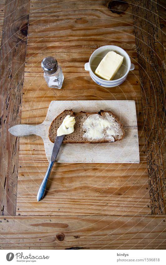 Brot Butter und Salz - Gott erhalts Salzstreuer Ernährung Frühstück Abendessen Fingerfood Messer Schneidebrett Frühstückstisch Häusliches Leben Tisch Essen