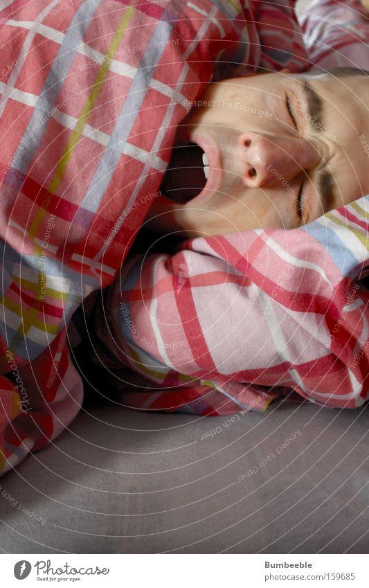 Guten Morgen! Bett Schlafzimmer Mann Erwachsene Mund schlafen Langeweile Müdigkeit Bettdecke Hautfalten Farbfoto Innenaufnahme Textfreiraum unten