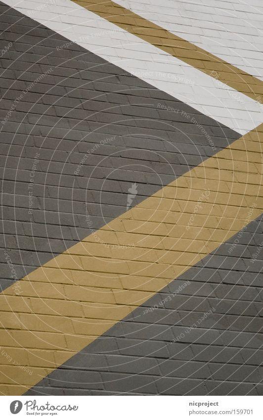 geometrisch 1 Fassade Geometrie weiß grau Ocker gelb Stein Haus Wand Mauer diagonal Strukturen & Formen Linie Streifen Dekoration & Verzierung verrückt