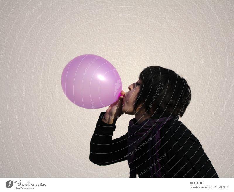 blowjob Luftballon Atem blasen rosa Freude Feste & Feiern Geburtstag Frau Gummi