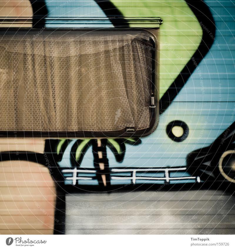 Sweet Home Caravan 3.0 Ferien & Urlaub & Reisen Fenster Graffiti Häusliches Leben Palme Mobilität Camping Vorhang Gardine Wohnmobil Wohnwagen Tagger