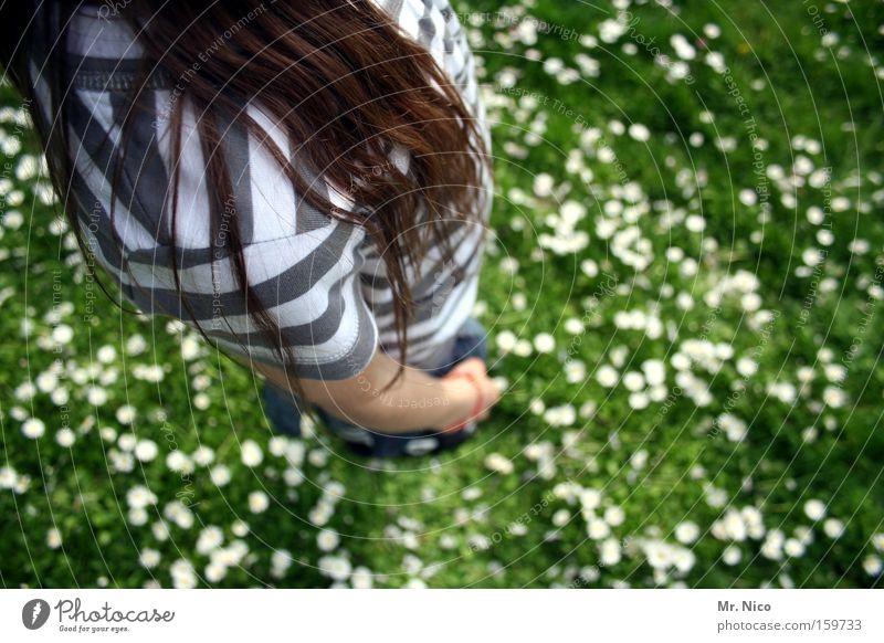 schulterstreifen Kind Jugendliche Wiese Spielen Haare & Frisuren groß Körperhaltung Vogelperspektive Streifen Schulter Blumenwiese gestreift standhaft Anatomie