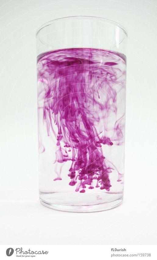 Diffusion Wasser schön weiß Farbe Bewegung Glas ästhetisch violett Physik Flüssigkeit Schreibwaren Tinte Wasserglas