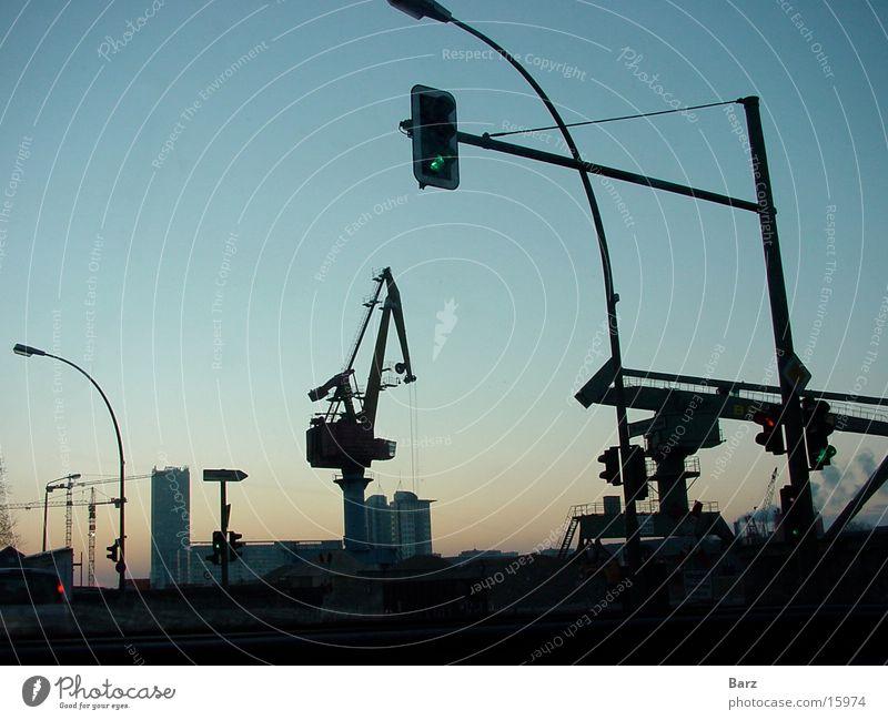 Hafenromanze Kran Sonnenaufgang Industrie Amperl