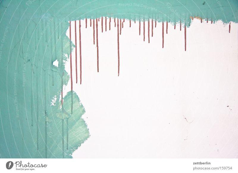 Malerarbeit Wand Wohnung Tropfen Häusliches Leben Vergänglichkeit Streifen streichen Muster Tapete Handwerk Berufsausbildung Anstreicher Handwerker Qualität