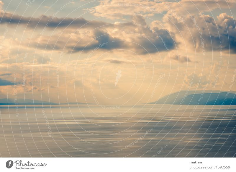Adria Landschaft Wasser Himmel Wolken Horizont Sommer Wetter Schönes Wetter Hügel Meer träumen blau braun weiß Windstille Farbfoto Außenaufnahme Muster