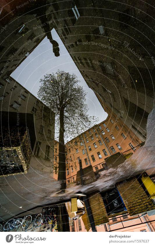 Himmel mit Kameraarm Ferien & Urlaub & Reisen Stadt Baum Haus dunkel Umwelt Architektur Wand Gefühle Berlin Gebäude Mauer Tourismus Regen Fahrrad Ausflug