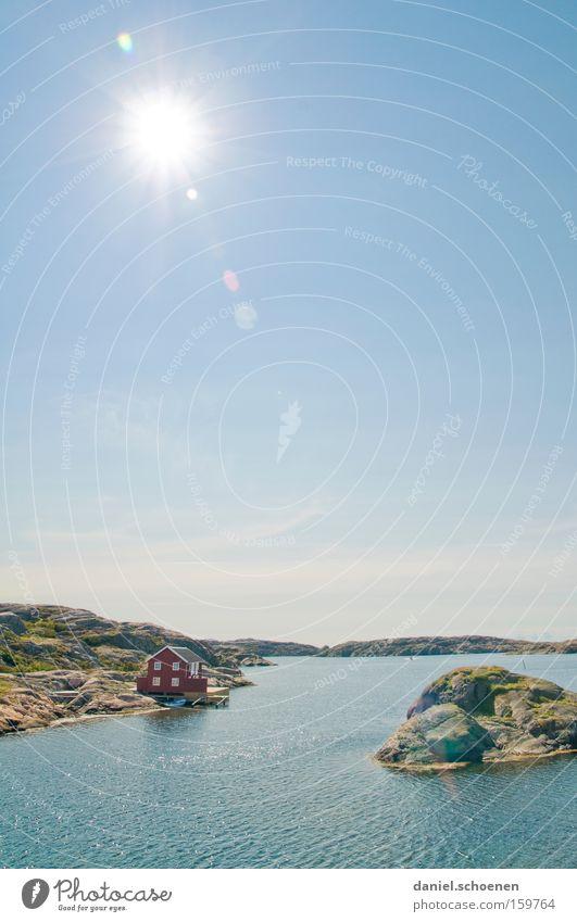 so sieht die Sonne aus Haus Hütte Meer Schweden Skandinavien Himmel Wetter Sommer Holz grün blau Wasser Horizont Licht Farbe Himmelskörper & Weltall Strand