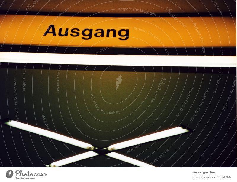 X - AUSGANG gelb oben Gebäude Beleuchtung gehen Schilder & Markierungen Ordnung Innenarchitektur Perspektive Schriftzeichen Hinweisschild analog Tunnel Eingang