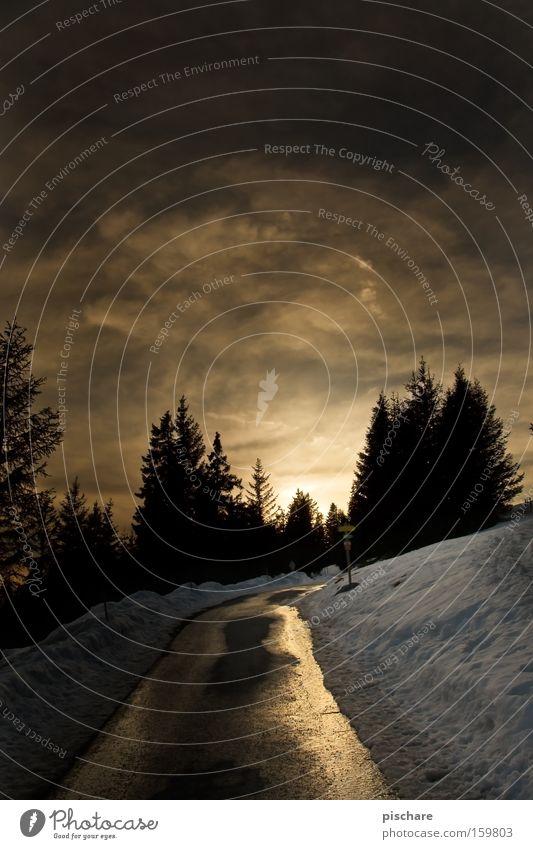 Der letzte Rest vom Tag... Himmel Baum Winter Wolken Straße Schnee Berge u. Gebirge gold Verkehrswege Abenddämmerung Licht Bundesland Steiermark