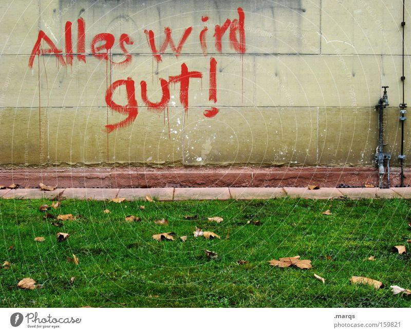 Zuversicht Erfolg Frühling Wiese Schriftzeichen Graffiti gut positiv selbstbewußt Optimismus Mut Tatkraft Vorsicht geduldig Weisheit klug Ausdauer standhaft