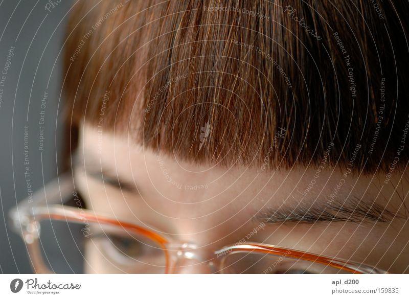 myLOVE Pony Haarschnitt Brillenträger Augenbraue Genauigkeit Frau Frau mit Brille Detailansicht Haare Bob Detailaufnahme Gesicht