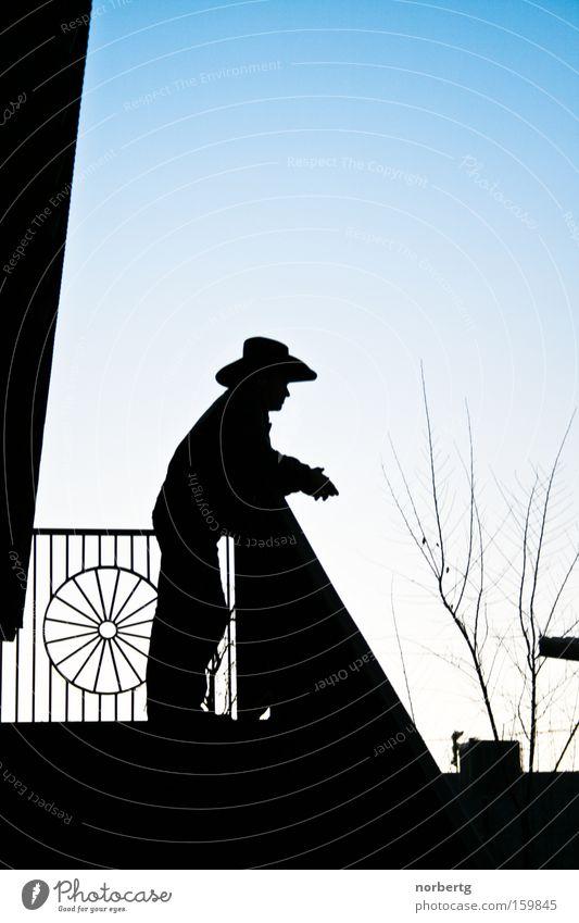 Siesta Mann blau ruhig Ferne Cowboy Ranch Veranda