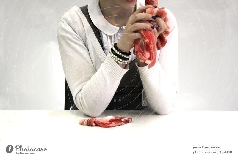disease me Mensch Frau Hand rot kalt Gefühle Essen Tisch verrückt festhalten Krankheit Gewalt Lebensmittel obskur Fleisch Aggression