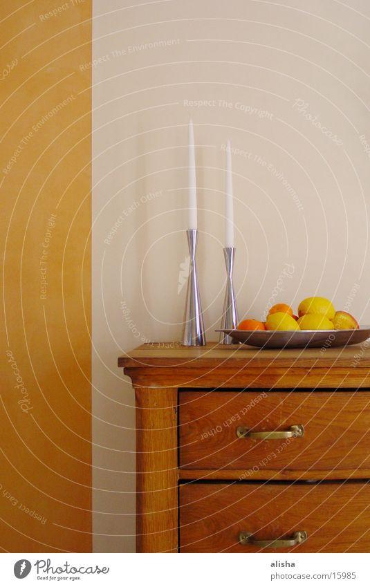 stillife with lemons and oranges Kerze Orange Wand Holz Häusliches Leben schank zitronenen