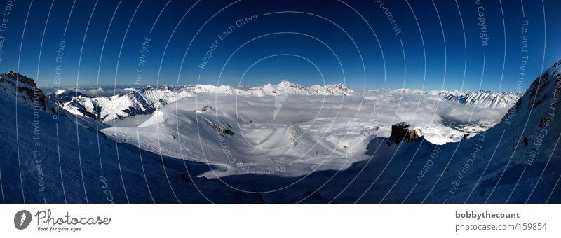 Über den wolken... weißer Zauber Schnee Panorama (Aussicht) Alpen Frankreich Wolken blau Himmel kalt Berge u. Gebirge Landschaft groß Panorama (Bildformat)