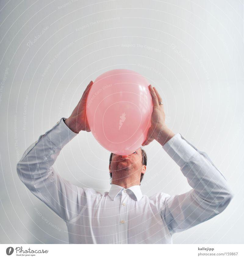 spassfaktor Freude rosa Feste & Feiern Geburtstag Spielen Kindergeburtstag Hemd Mann Mensch blasen Blase Luftballon lungenvolumen