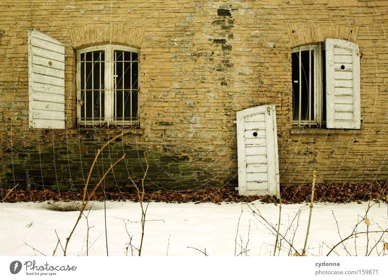 [Weimar09] Bastelbedarf alt Winter Leben Schnee Wand Fenster Mauer Zeit Vergänglichkeit verfallen Verfall Zerstörung Erinnerung Leerstand Fensterladen Armee