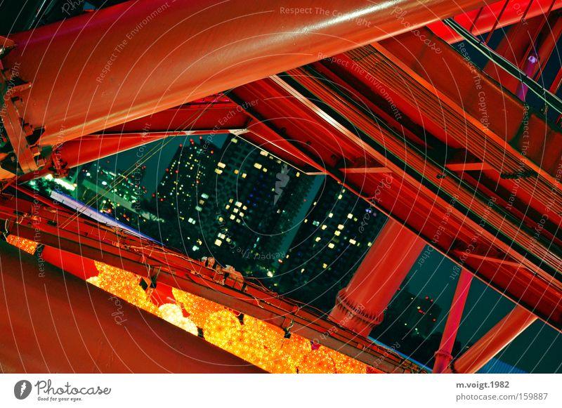 night light Stadt rot Haus Lampe Metall Architektur Stahl Loch Spannung Konstruktion
