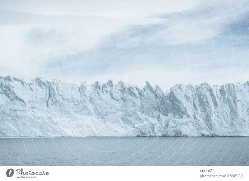 Die Mauer Wasser Klimawandel Eis Frost Gletscher Küste gigantisch kalt blau weiß Vergangenheit Vergänglichkeit Wandel & Veränderung Perito Moreno Gletscher