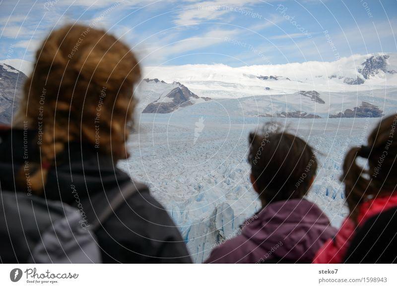 Warten auf den Bruch Mensch Ferien & Urlaub & Reisen Ferne Berge u. Gebirge kalt Haare & Frisuren Kopf Horizont Tourismus Eis wandern warten beobachten Frost
