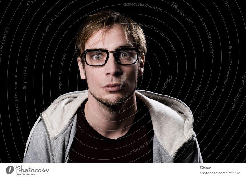 Streber? Mann Gesicht Brille Verstand Fragen Kapuze klug