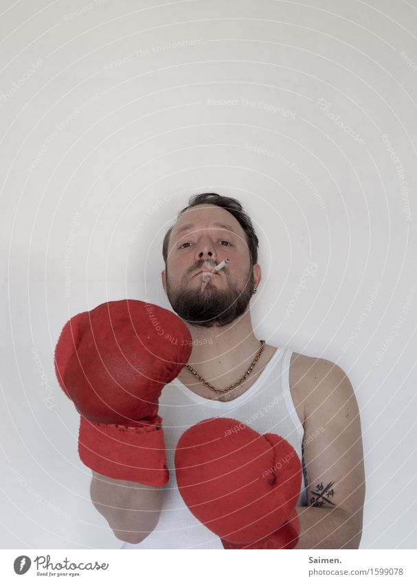 Konfliktlösung Mensch Mann Gesicht Erwachsene Kopf maskulin Körper Haut Wut Rauchen Bart Konflikt & Streit Gewalt Aggression Zigarette Halskette