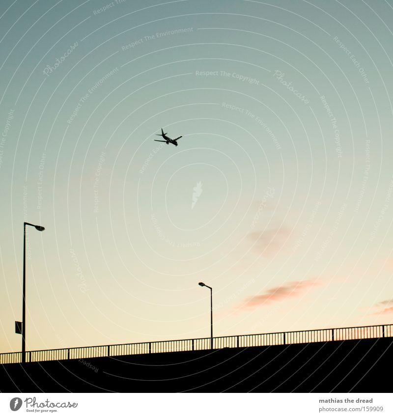 RAUS AUS DEM GROßSTADTDSCHUNGEL Himmel Dämmerung Sonnenuntergang schön ästhetisch Idylle Natur Laterne Zaun Silhouette schwarz Wolken rosa Flugzeug