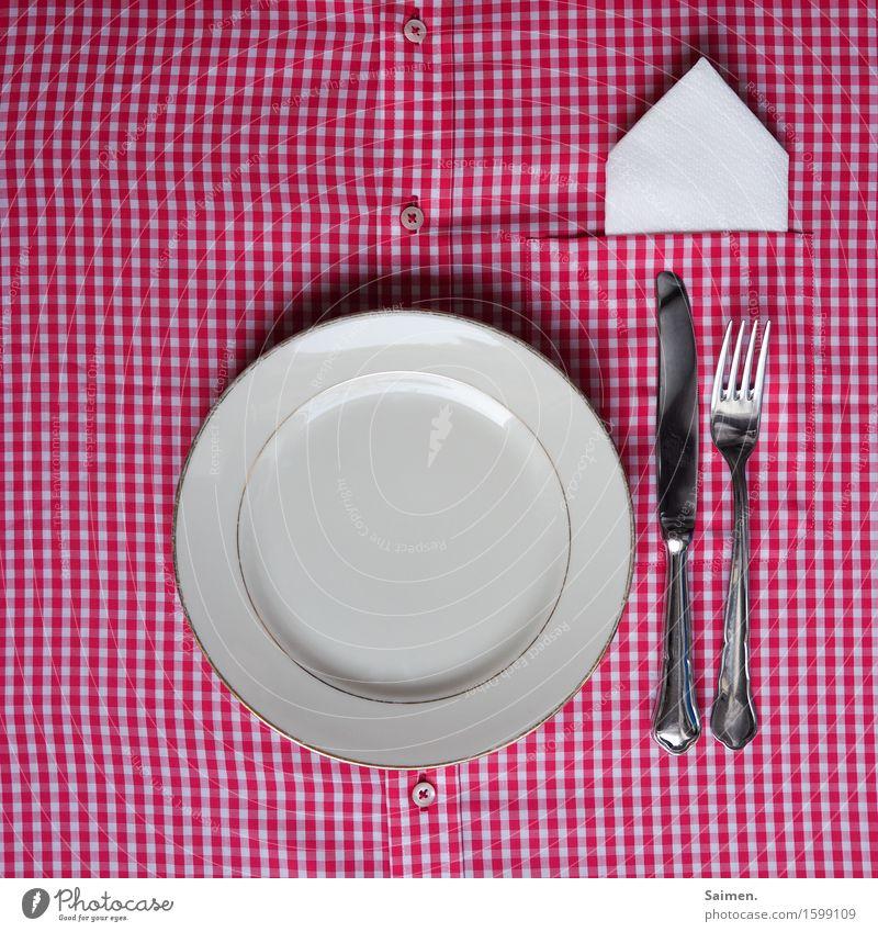 häusliche Improvisationskunst Dekoration & Verzierung Idee Teller Besteck Serviette Hemd kariert Messer Gabel Knöpfe Farbfoto Innenaufnahme Nahaufnahme