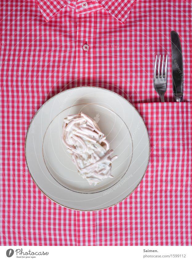 Fleischsalat auf Brötchen karriert hemd Knöpfe Knopf Hemdkragen Kragen Fleich Ernährung Nahrung bester Stadt Essen Kassiererin Gabel messer Lebensmittel