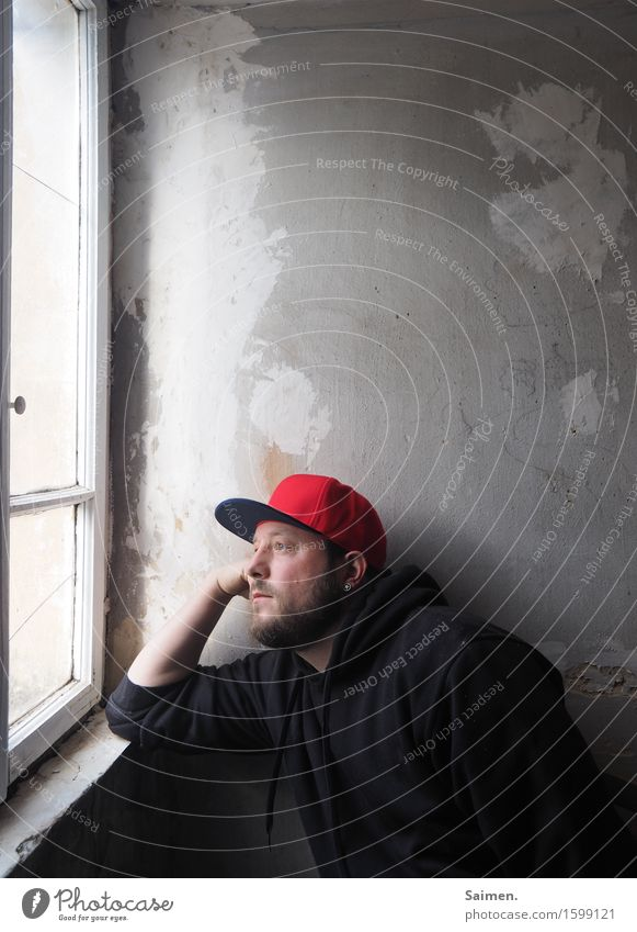 FERNWEH Mensch maskulin Mann Erwachsene Kopf Gesicht 1 30-45 Jahre sitzen Gefühle Stimmung Zufriedenheit Hoffnung Traurigkeit Trauer Sehnsucht Fernweh Erholung