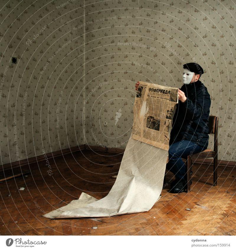 [Weimar09] Message Reader aktiv Mensch Leben Raum Zeit lesen Kommunizieren Stuhl Bildung Maske Vergänglichkeit Verfall Zimmerecke Erinnerung Örtlichkeit Tarnung