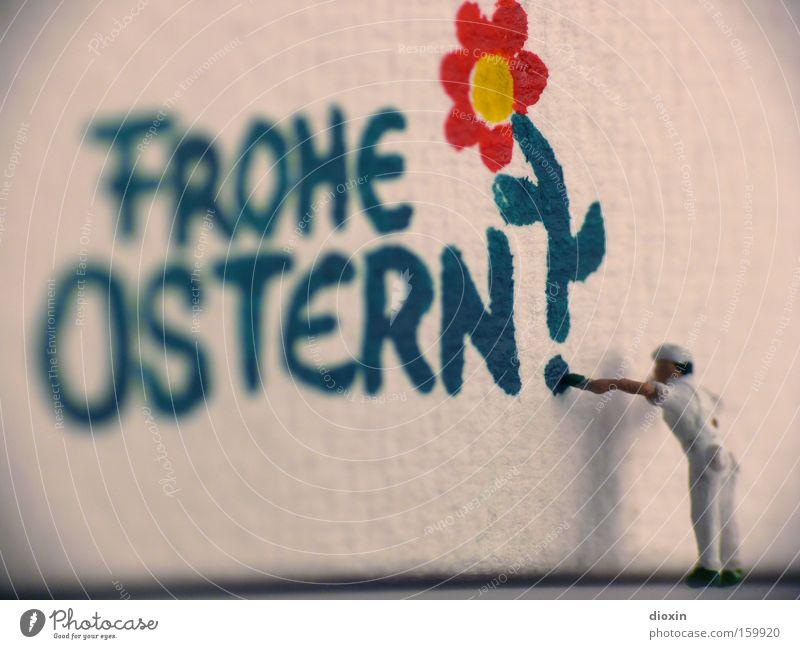 Ostergruß Blume Farbe Wand Graffiti klein Frühling Schriftzeichen Mensch Buchstaben Ostern schreiben Feste & Feiern Gemälde Handwerk Gänseblümchen Pinsel