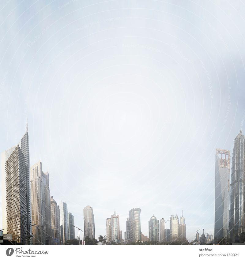 Finanzkrise Wirtschaft Hochhaus modern Fortschritt Pu Dong Shanghai Asien Finanzzentrum Farbfoto Außenaufnahme Textfreiraum oben Textfreiraum Mitte