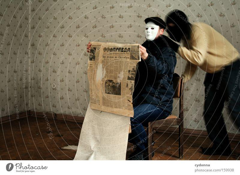 [Weimar09] Message Reader fatal error Mensch Leben Raum Zeit lesen gefährlich Kommunizieren Stuhl bedrohlich Bildung Maske Vergänglichkeit Zimmerecke Erinnerung