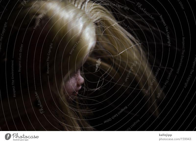 zucker Frau schön alt Gesicht schwarz feminin Haare & Frisuren blond Nase Spielzeug gruselig Puppe Haarfarbe