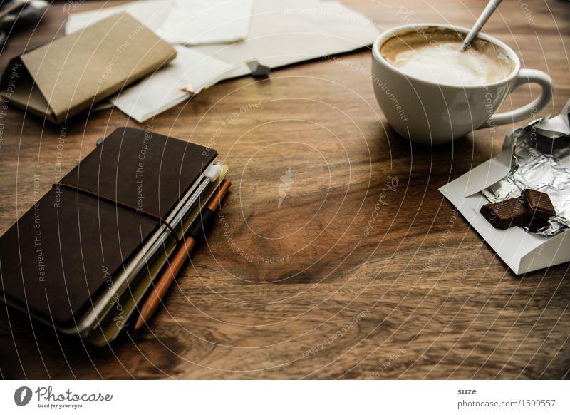 Prokrastination Erholung ruhig dunkel natürlich Zeit braun Arbeit & Erwerbstätigkeit Büro Kreativität genießen Idee Studium Papier Pause Getränk Kaffee