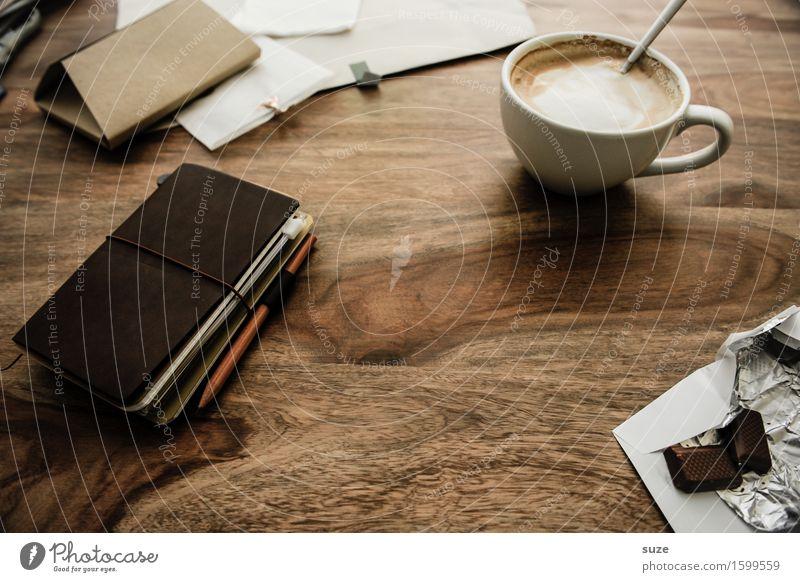 Sie haben heute einen freien Tag Erholung ruhig dunkel natürlich Zeit braun Arbeit & Erwerbstätigkeit Büro Kreativität genießen Idee Studium Papier Pause Getränk Kaffee