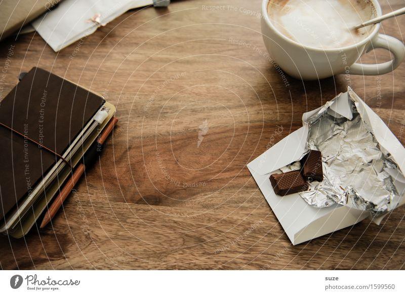 Durch dick und dünn Erholung ruhig dunkel natürlich Zeit braun Arbeit & Erwerbstätigkeit Büro Kreativität genießen Idee Studium Papier Pause Getränk Kaffee