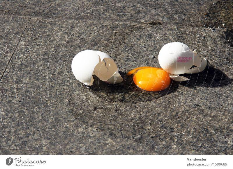 Zerschlagen Lebensmittel Ei Ernährung Frühstück Bioprodukte Gesunde Ernährung kaufen fallen Flüssigkeit gelb orange verschwenden Gesundheit Missgeschick