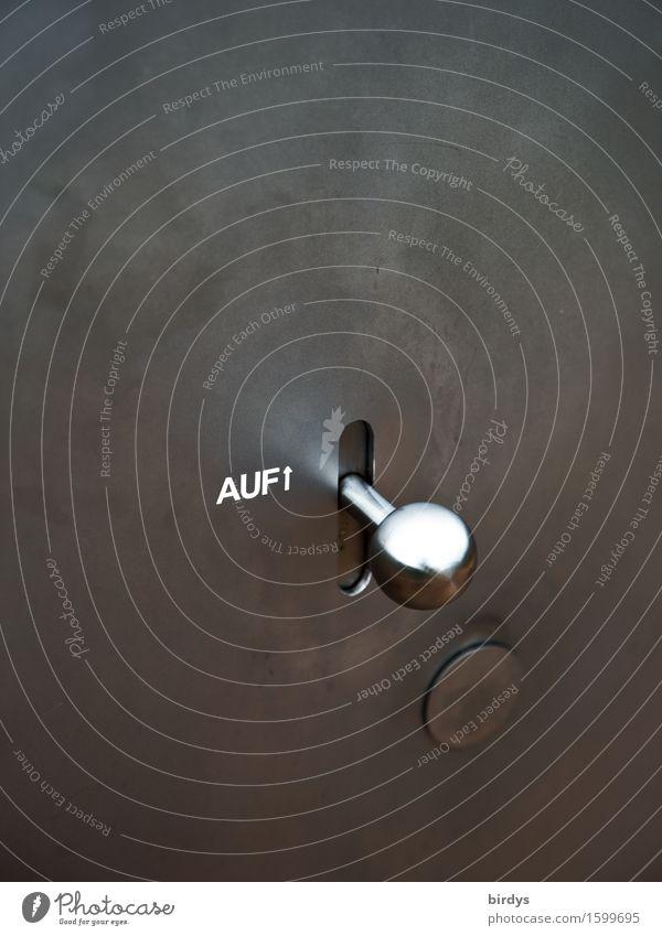 der Öffner Schloss Türknauf Metall Zeichen Schriftzeichen Pfeil leuchten ästhetisch glänzend modern Sauberkeit grau silber weiß Erfolg Willensstärke Macht