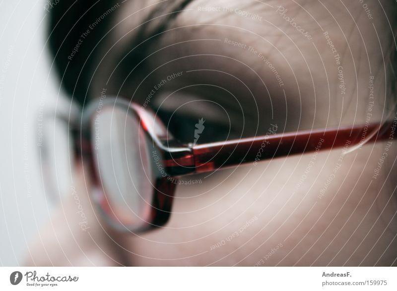 Brillenschlange streben fleißig Frau Optiker Brillengestell Blick Detailaufnahme Brillenträger lernen Auge Konzentration Freak sehschwäche Studium Sehvermögen