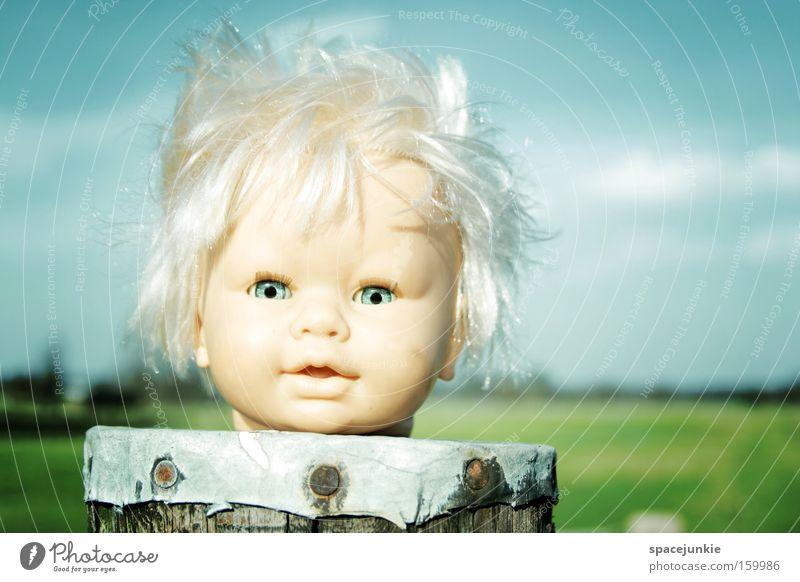 Stormy day Himmel Freude Wolken Einsamkeit Haare & Frisuren Kopf Landschaft Wind Sturm Puppe skurril Strommast Pfosten kopflos
